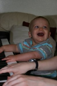 and playing the piano with Aunt Bonnie.